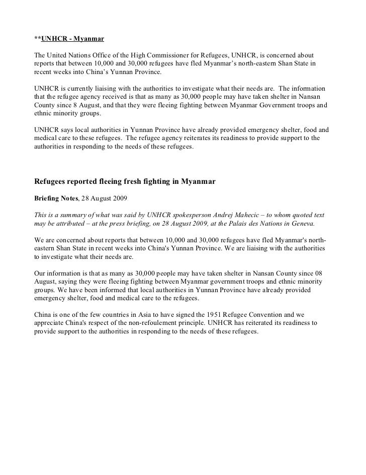 **UNHCR - MyanmarThe United Nations Office of the High Commissioner for Refugees, UNHCR, is concerned aboutreports that be...