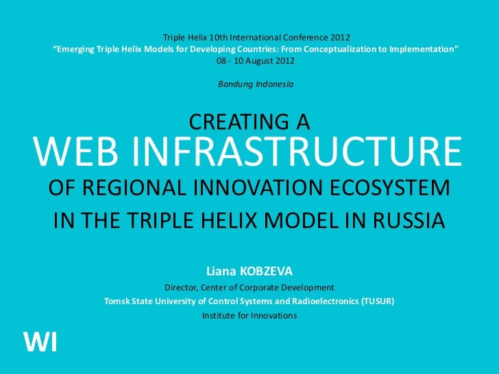CREATING A WEB INFRASTRUCTURE OF REGIONAL INNOVATION ECOSYSTEM IN THE TRIPLE HELIX MODEL IN RUSSIA