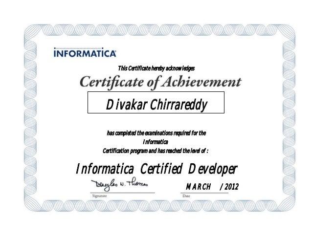 Informatica Certified Devloper