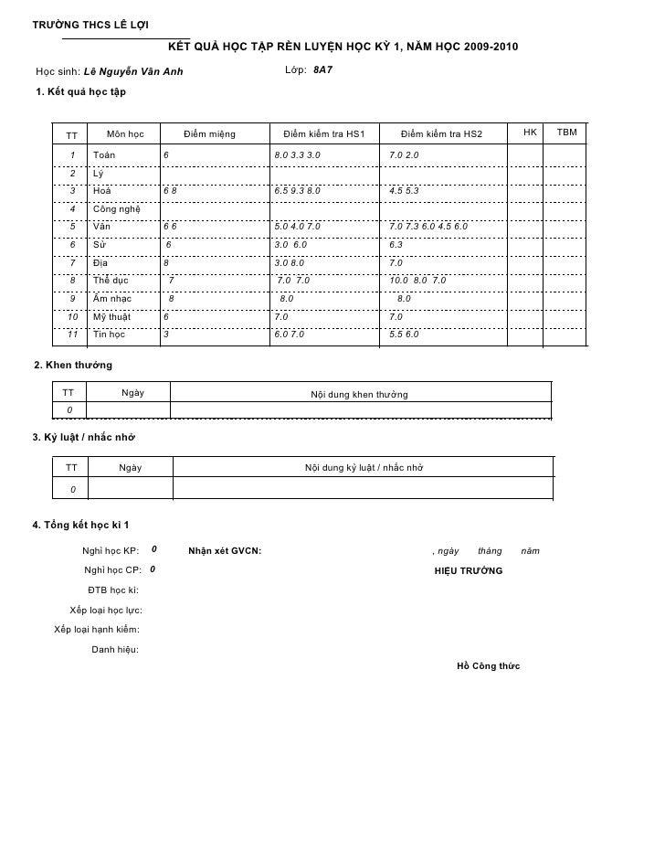 TRƯỜNG THCS LÊ LỢI                                   KẾT QUẢ HỌC TẬP RÈN LUYỆN HỌC KỲ 1, NĂM HỌC 2009-2010  Học sinh: Lê N...
