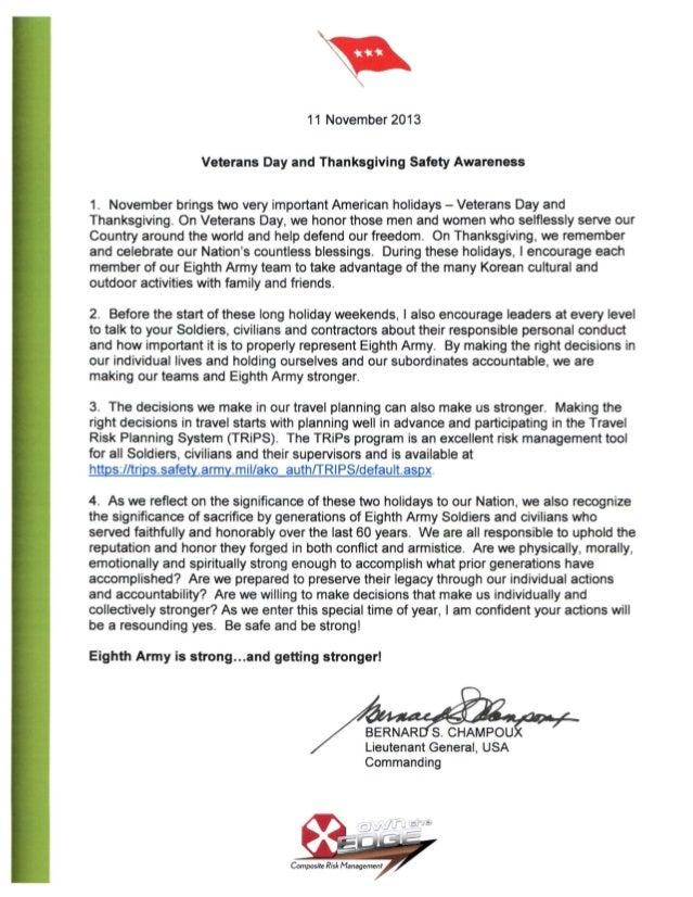 11 November 2013 Veterans Day and Thanksgiving Safety Awareness  1. November brings two very important American holidays -...