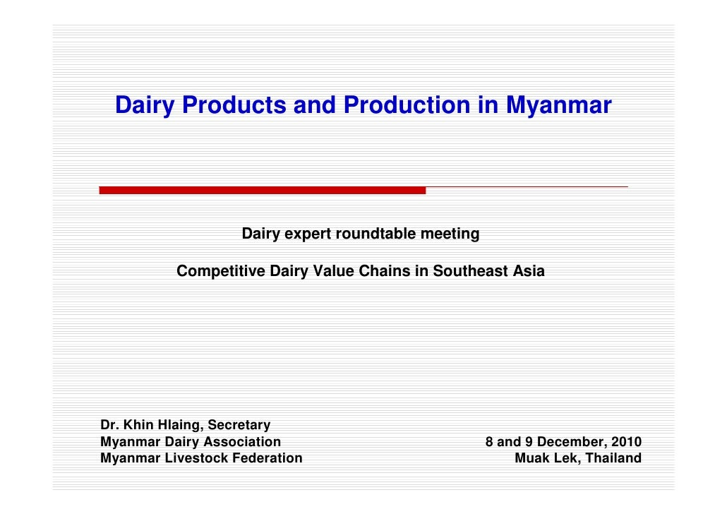 Dairy Products and Production in Myanmar                   Dairy expert roundtable meeting          Competitive Dairy Valu...