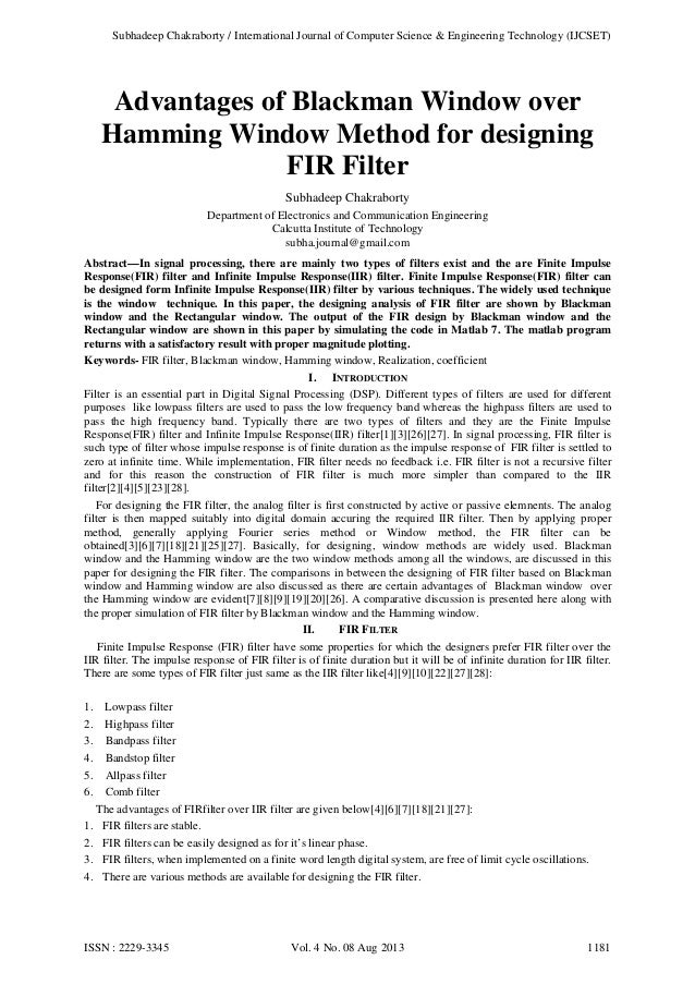 Subhadeep Chakraborty / International Journal of Computer Science & Engineering Technology (IJCSET)  Advantages of Blackma...