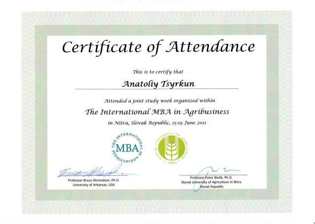 Certificate of attendance in the study week organized within the Inte ...