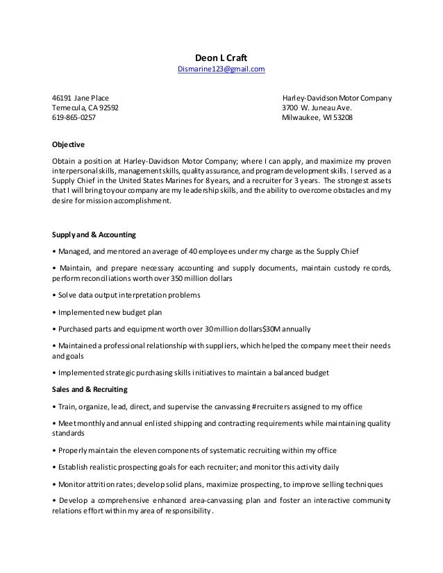 deon l craft resume