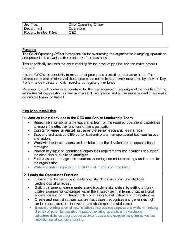 Chief operating officer job description - Job description for chief executive officer ...