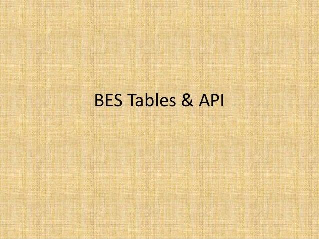 BES Tables & API