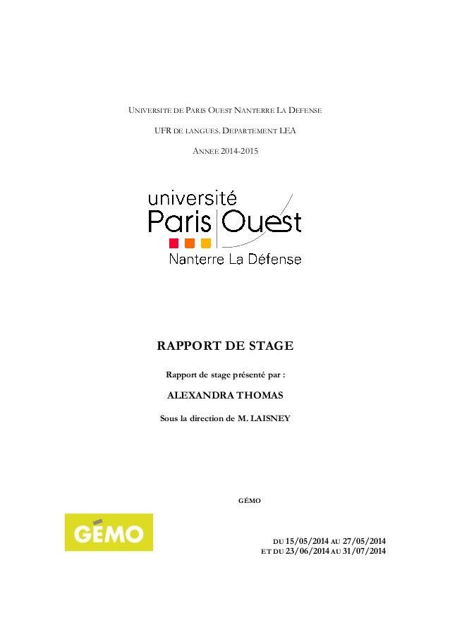 UNIVERSITE DE PARIS OUEST NANTERRE LA DEFENSE UFR DE LANGUES. DEPARTEMENT LEA ANNEE 2014-2015 RAPPORT DE STAGE Rapport de ...
