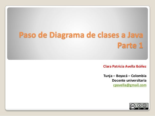 Paso de Diagrama de clases a JavaParte 1Clara Patricia Avella IbáñezTunja – Boyacá – ColombiaDocente universitariacpavella...