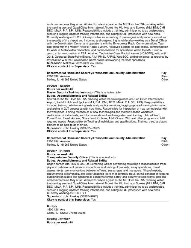 100 sle transportation security officer resume