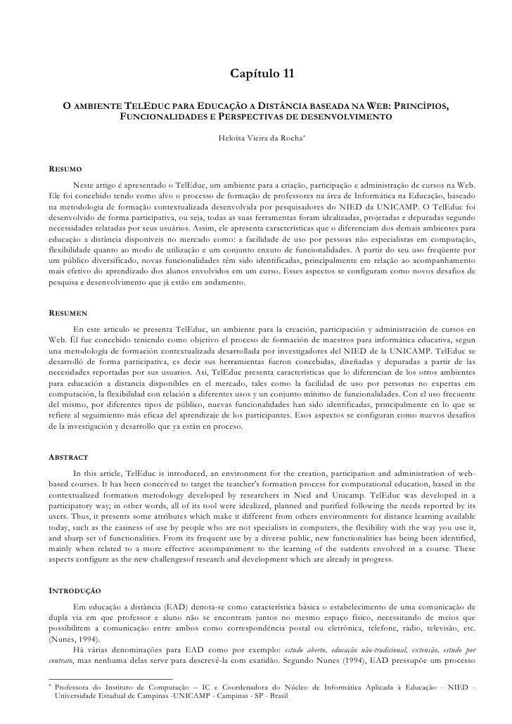 Capítulo 11        O AMBIENTE TELEDUC PARA EDUCAÇÃO A DISTÂNCIA BASEADA NA WEB: PRINCÍPIOS,                 FUNCIONALIDADE...