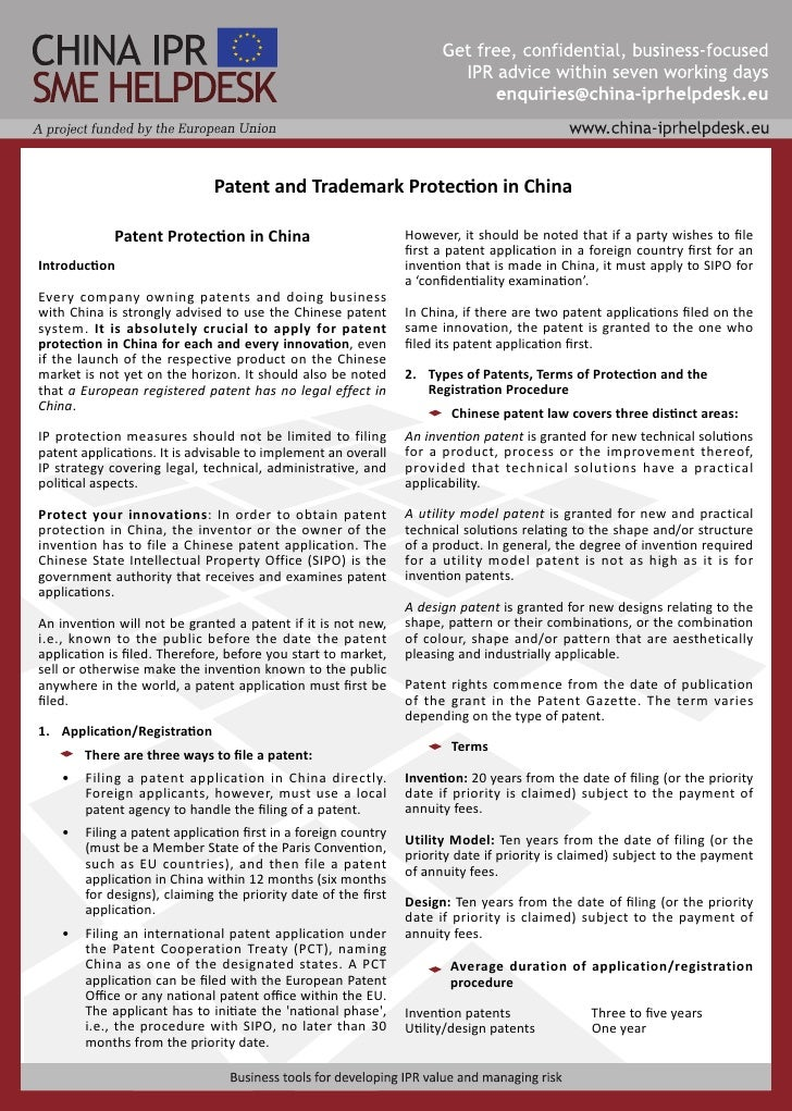 Patent and Trademark Protection in China               Patent Protection in China                          However, it sho...