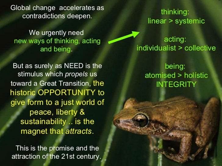 Global change  accelerates as contradictions deepen. We urgently need  new ways of thinking, acting and being .  But as su...