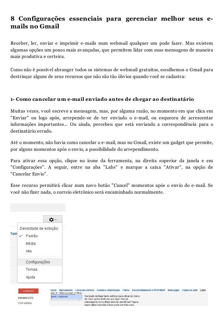 8 Configuraç es essenciais para gerenciar melhor seus e-mails no GmailReceber, ler, enviar e imprimir e-mails num webmail ...