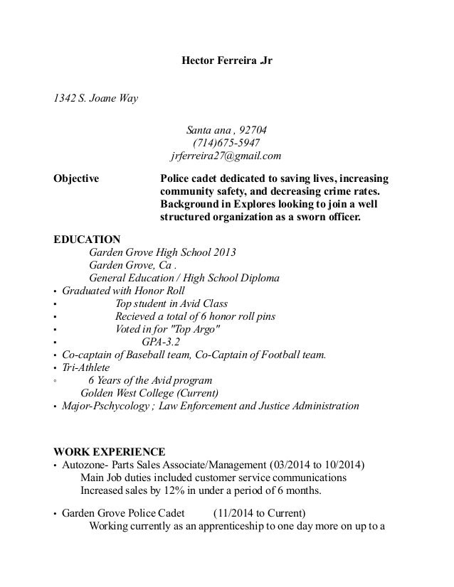 law enforcement objective for resume
