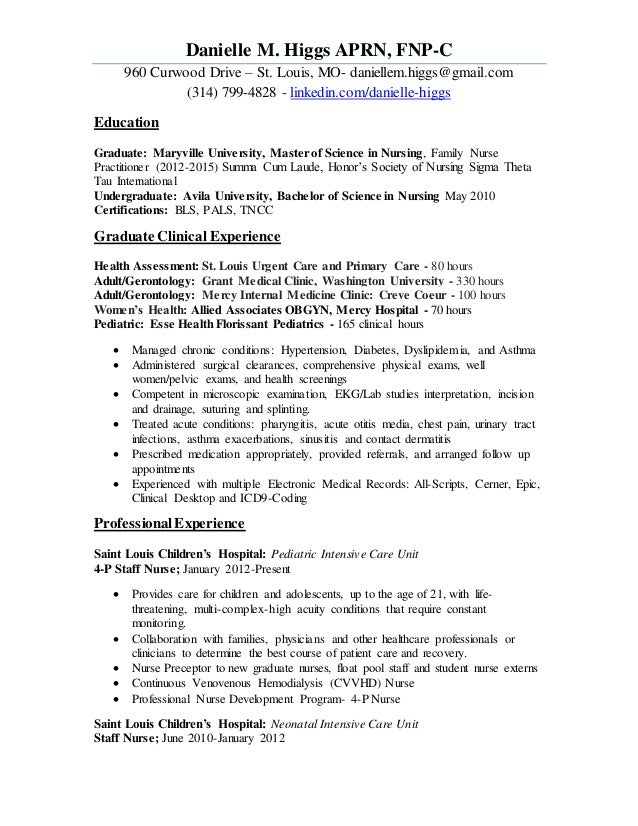 Family nurse practitioner resume examples