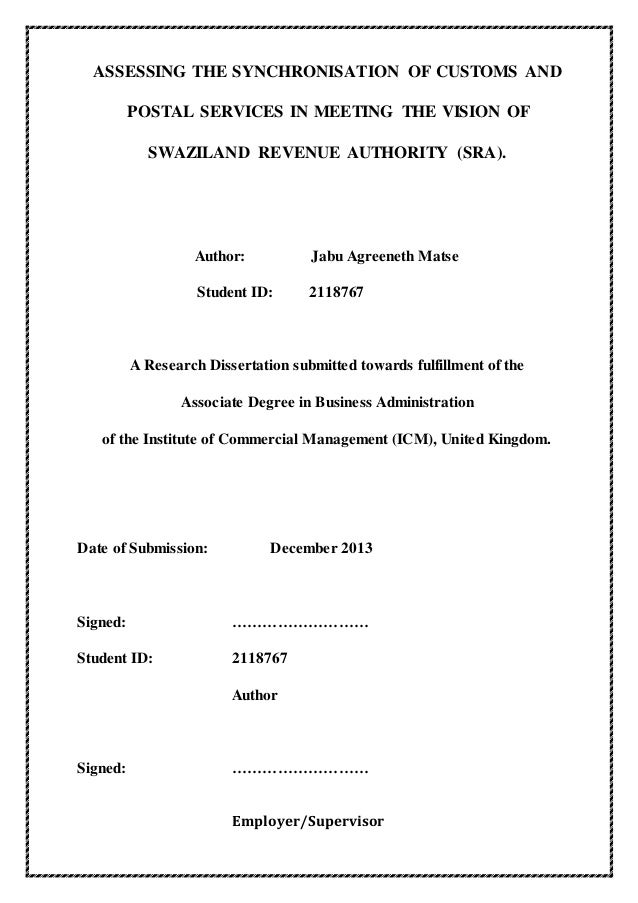 Thesis phd on customs and excise
