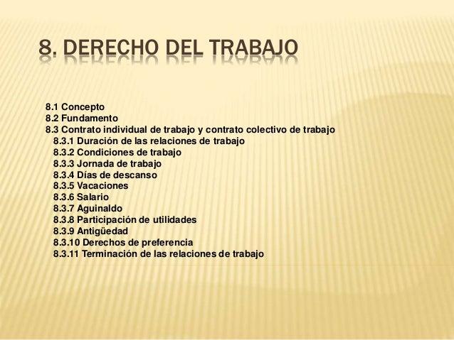 8. DERECHO DEL TRABAJO 8.1 Concepto 8.2 Fundamento 8.3 Contrato individual de trabajo y contrato colectivo de trabajo 8.3....