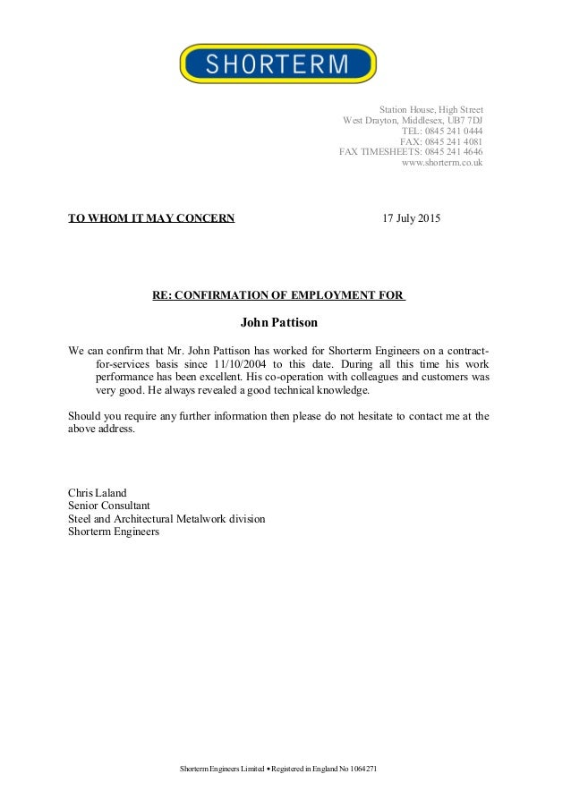 Letter To Confirm Employment Uk