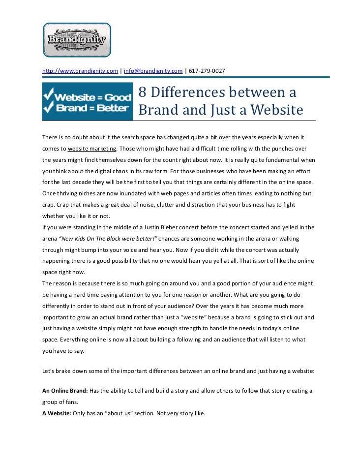 http://www.brandignity.com | info@brandignity.com | 617-279-0027                                       8 Differences betwe...