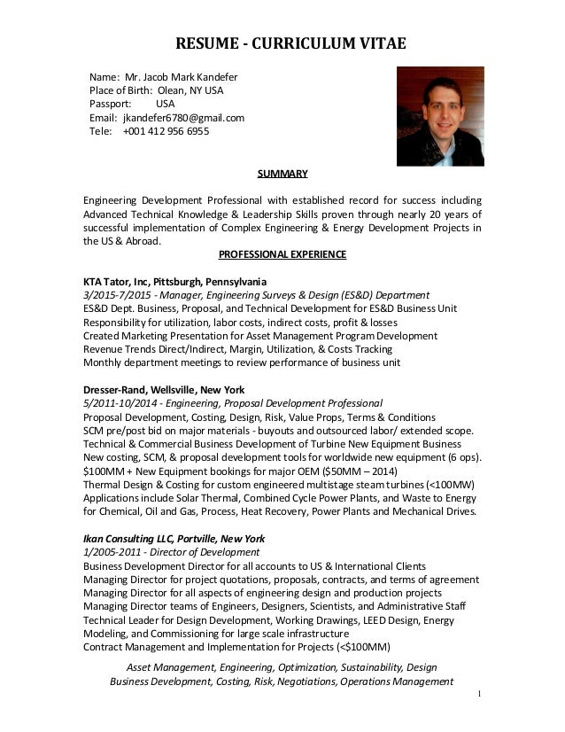 jacob kandefer resume cv