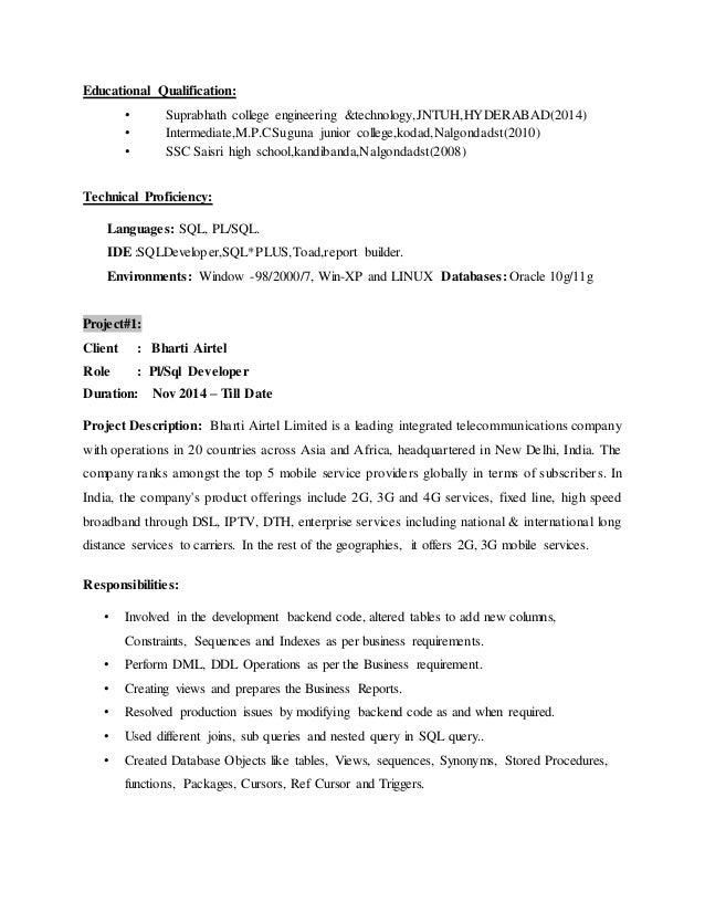 Resume for plsql