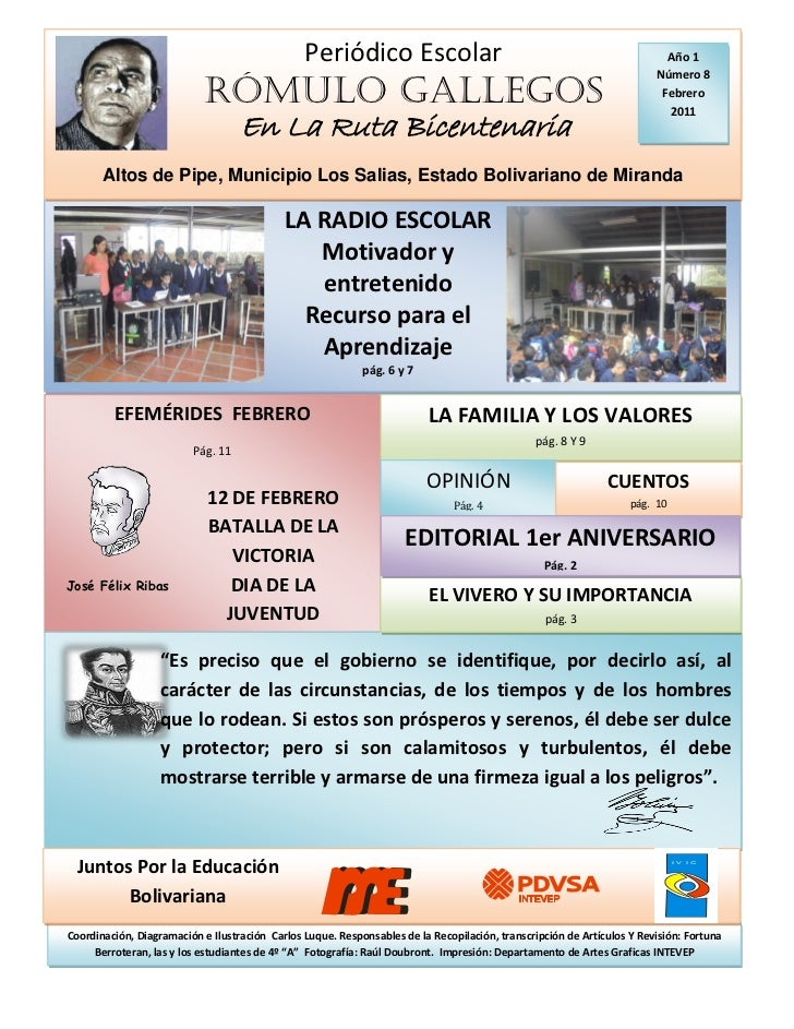 8 edici n peri dico escolar r mulo gallegos for Como elaborar un periodico mural escolar