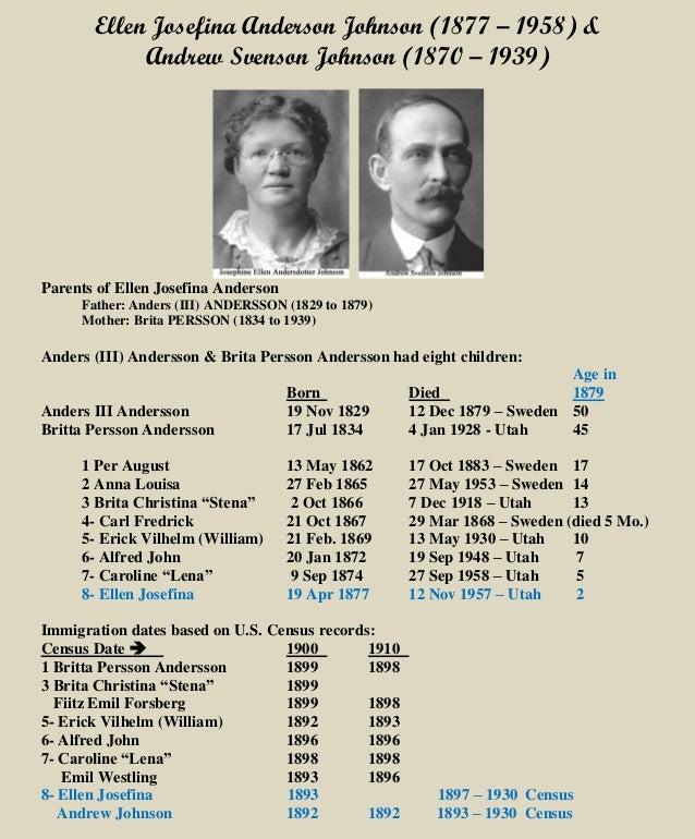 Ellen Josefina Anderson Johnson (1877 – 1958) & Andrew Svenson Johnson (1870 – 1939) Parents of Ellen Josefina Anderson Fa...