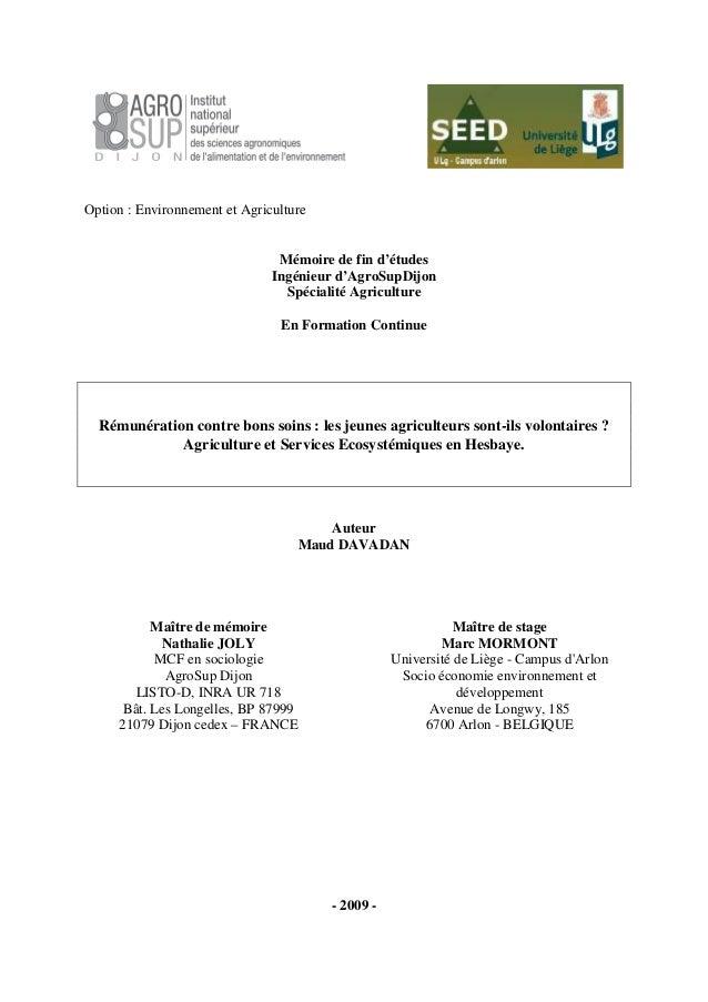 Option : Environnement et Agriculture Mémoire de fin d'études Ingénieur d'AgroSupDijon Spécialité Agriculture En Formation...