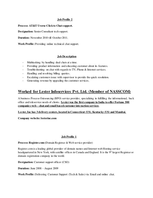 resume for bpo tech support