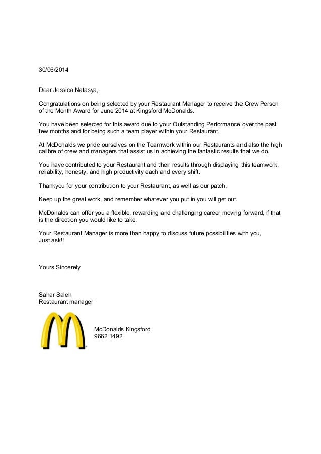 Crew Of The Month Letter