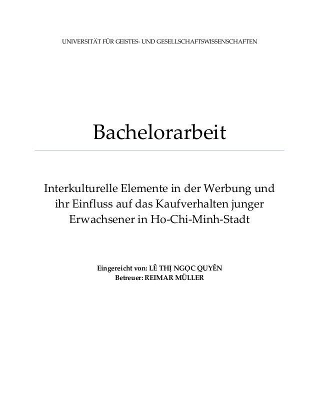 UNIVERSITÄT FÜR GEISTES- UND GESELLSCHAFTSWISSENSCHAFTEN Bachelorarbeit Interkulturelle Elemente in der Werbung und ihr Ei...