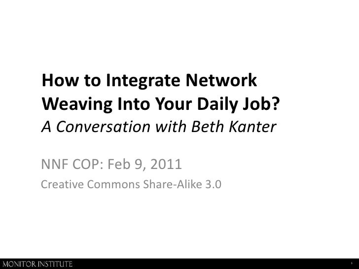 How to Integrate Network Weaving Into Your Daily Job?A Conversation with Beth Kanter<br />NNF COP: Feb 9, 2011<br />Creati...