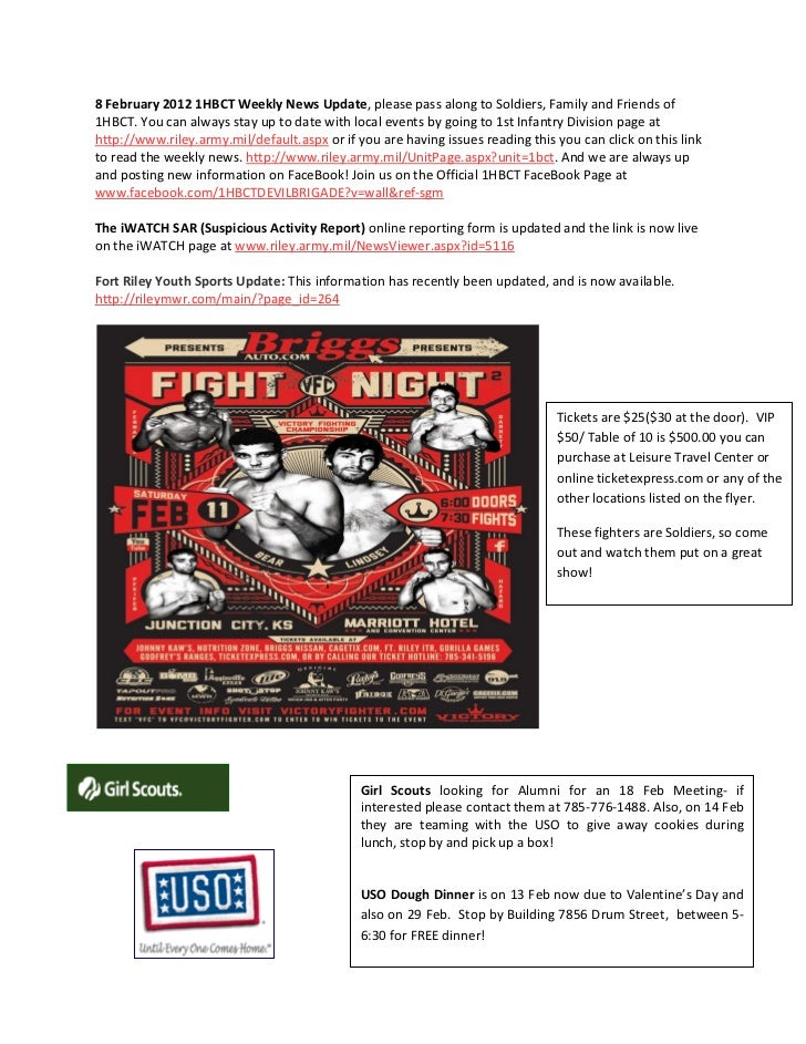 8 February 2012 1HBCT Weekly News Update, please pass along to Soldiers, Family and Friends of1HBCT. You can always stay u...