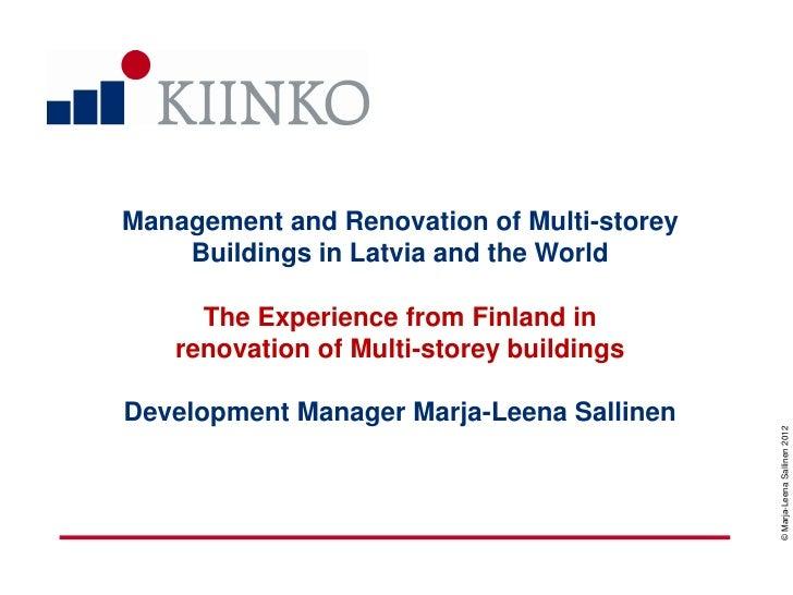 Somijas pieredze mājokļu renovācijā