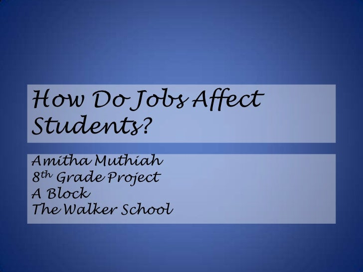 How Do Jobs Affect Students?<br />Amitha Muthiah<br />8th Grade Project<br />A Block<br />The Walker School<br />