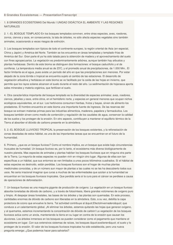 8 Grandes Ecosistemas — PresentationTranscript1. 8 GRANDES ECOSISTEMAS Del Mundo I UNIDAD DIDÁCTICA EL AMBIENTE Y LAS REGI...