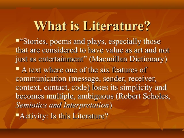 what is literature 2 American literature according to the rise of different ethnic and minority liter- atures the following chart is designed to highlight which literatures are repre.