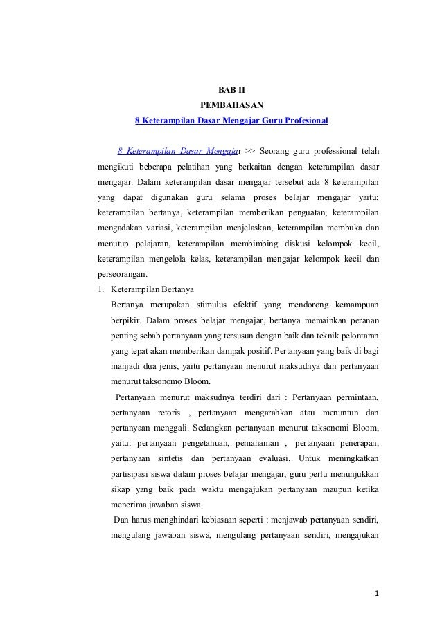 BAB II                           PEMBAHASAN         8 Keterampilan Dasar Mengajar Guru Profesional     8 Keterampilan Dasa...