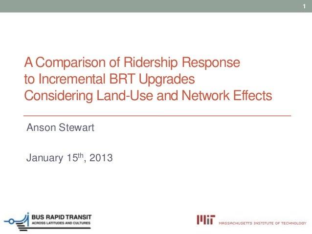 1A Comparison of Ridership Responseto Incremental BRT UpgradesConsidering Land-Use and Network EffectsAnson StewartJanuary...