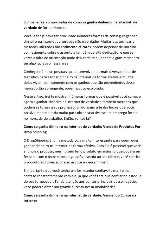 8.7 maneiras comprovadas de como se ganha dinheiro na internet de verdade de forma Honesta  Você leitor já deve ter procur...
