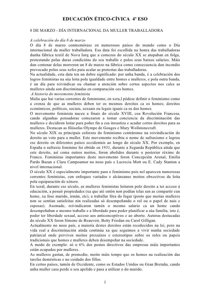 EDUCACIÓN ÉTICO-CÍVICA 4º ESO8 DE MARZO - DÍA INTERNACIONAL DA MULLER TRABALLADORAA celebración do día 8 de marzoO día 8 d...