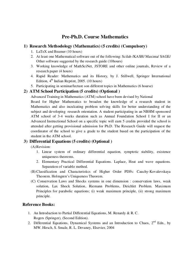 Pre-Ph.D. Course Mathematics1) Research Methodology (Mathematics) (5 credits) (Compulsory)    1. LaTeX and Beamer (10 hour...