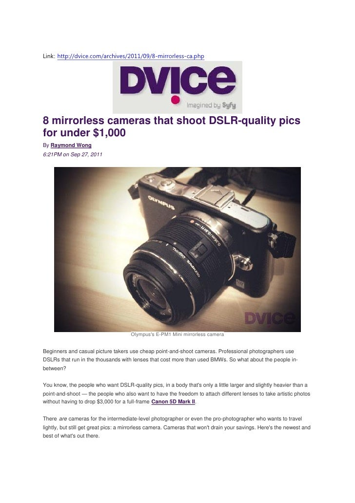 8 mirrorless cameras that shoot DSLR-quality pics for under $1,000 - Samsung NX200 (Dvice.com)
