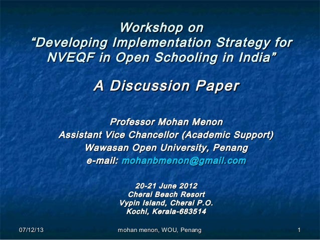 "07/12/1307/12/13 11 Workshop onWorkshop on ""Developing Implementation Strategy for""Developing Implementation Strategy for ..."