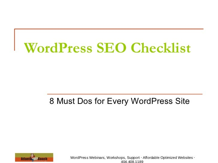 WordPress SEO Checklist   8 Must Dos for Every WordPress Site