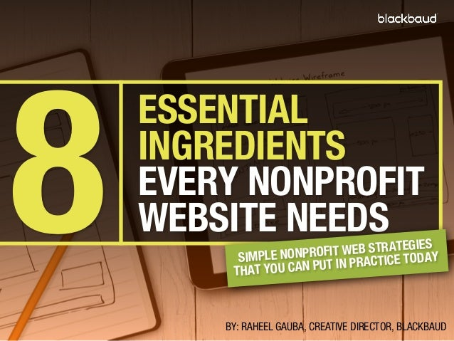 8  ESSENTIAL INGREDIENTS EVERY NONPROFIT WEBSITE NEEDS  S IT WEB STRATEGIEAY SIMPLE NONPROF IN PRACTICE TOD AT YOU CAN PUT...