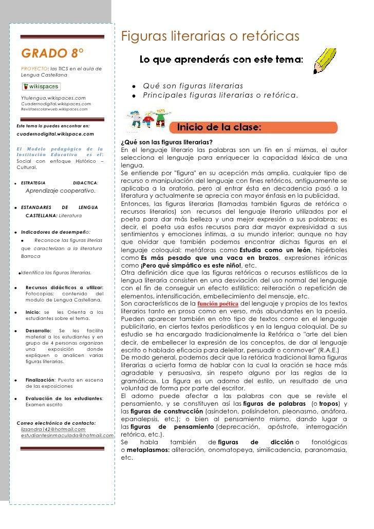 Figuras literarias o retóricas  GRADO 8°  PROYECTO: las TICS en el aula de  Lengua Castellana                             ...