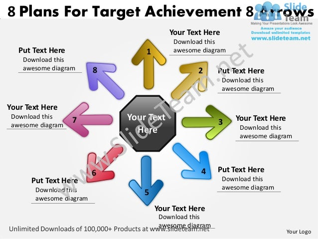 8 plans for target achievement arrows circular motion network power point slides