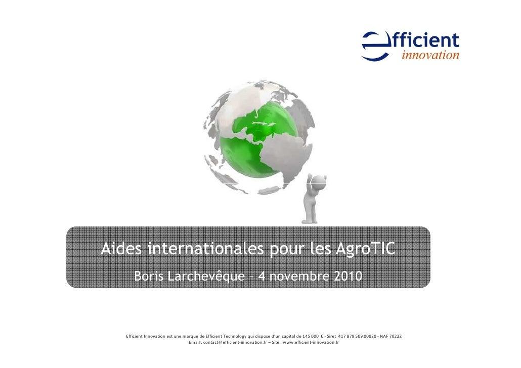 Aides internationales pour les AgroTIC